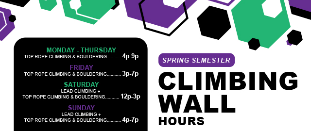 Spring Semester Climbing Wall Hours